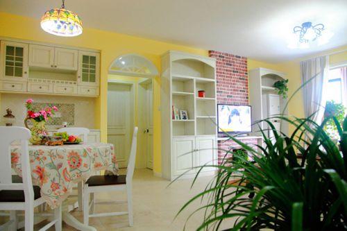 黄色精美田园客厅装修布置