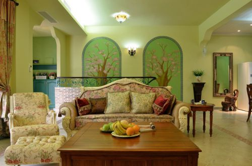 清新田园风格绿色客厅装潢