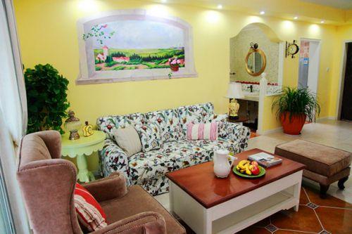 黄色田园风格客厅设计装修效果图