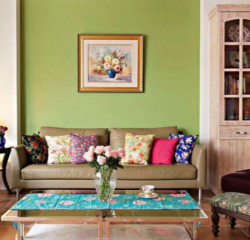 绿色清新田园风格客厅装修赏析