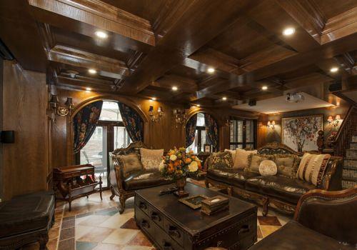 褐色田园客厅吊顶设计