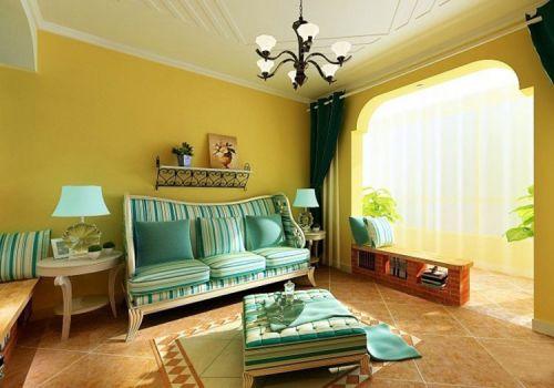 地中海黄色客厅实景