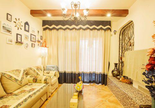 多彩地中海客厅窗帘设计