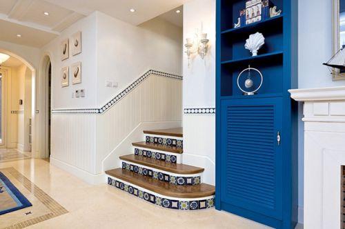 蓝色地中海客厅楼梯图片赏析