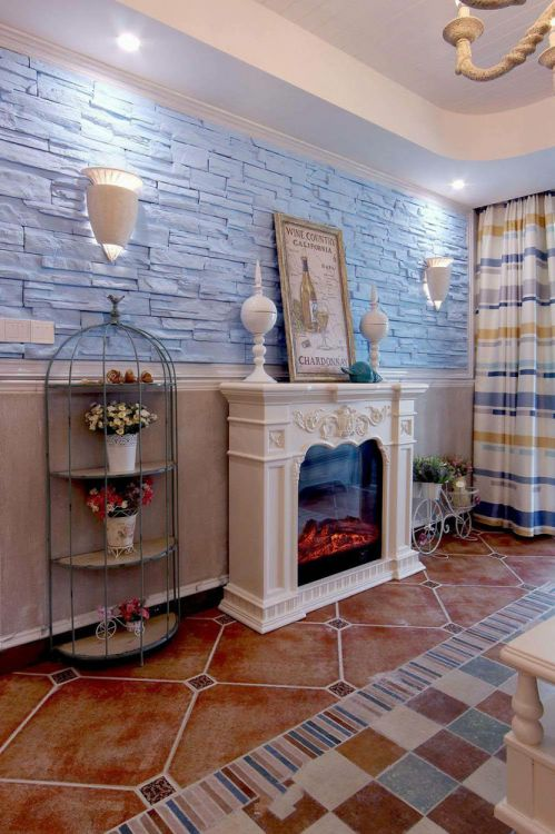 2018浪漫蓝色地中海风格客厅背景墙欣赏