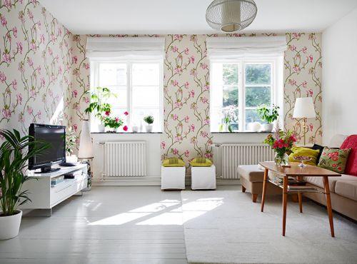 白色浪漫温馨田园风格客厅装修效果图片