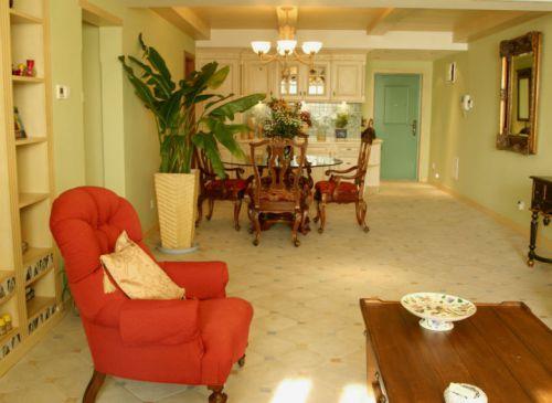 清爽自然黄色田园风格客厅设计装潢
