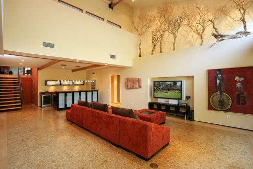 大气时尚橙色田园风格客厅装修案例