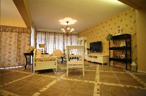 田园风温馨黄色客厅装修效果图片