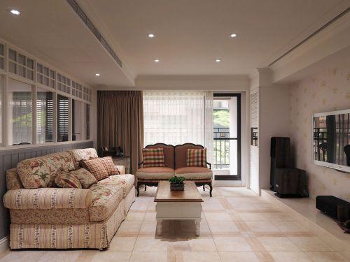 田园风格质感米色客厅装修美图