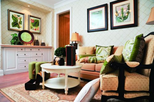 绿色浪漫时尚田园风格客厅效果图欣赏