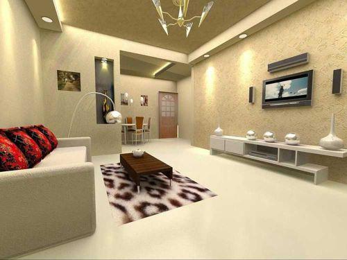 素雅清爽现代风格客厅设计效果图