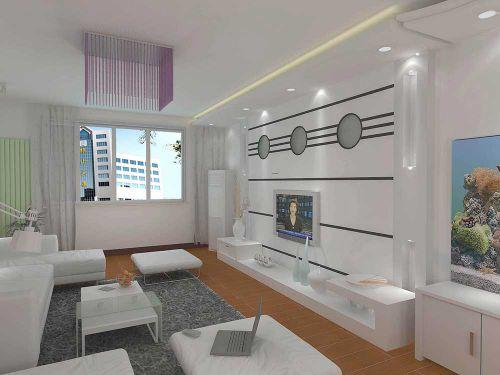 现代风格白色客厅设计图