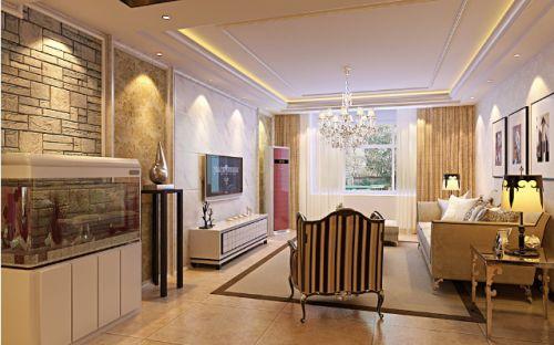 现代风格轻奢米色客厅装修设计