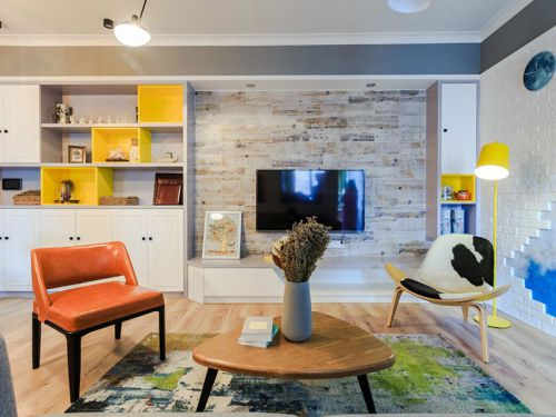 白色质感现代风格客厅装修设计