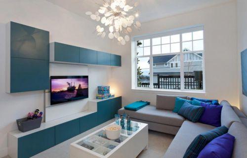 蓝色个性创意现代风格客厅装潢图