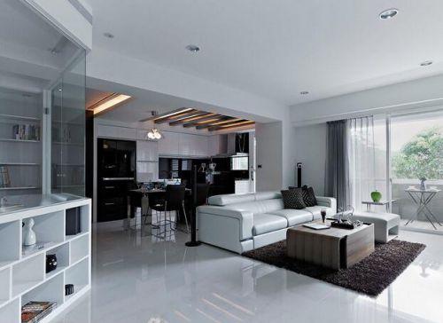 唯美时尚现代风格客厅装修整体效果图