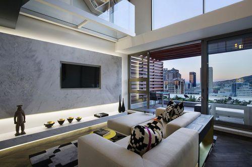 米色现代风格客厅装潢案例