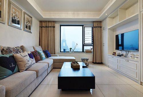 米色清新现代风格客厅装潢设计
