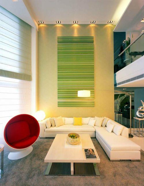现绿色清新代风格客厅设计案例