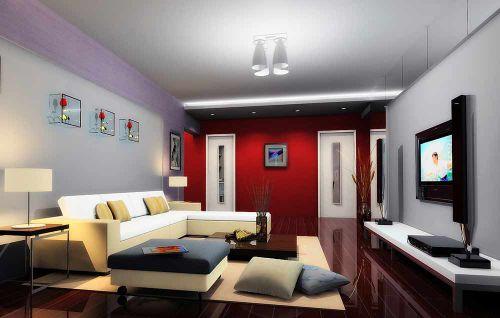 红色时尚现代风格精致客厅装潢