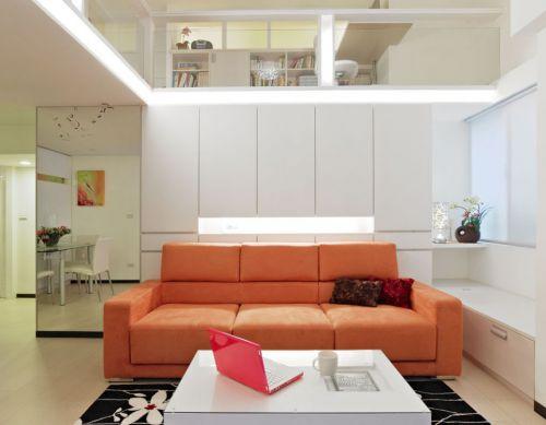 橙色时尚雅致现代风格客厅装潢装修设计
