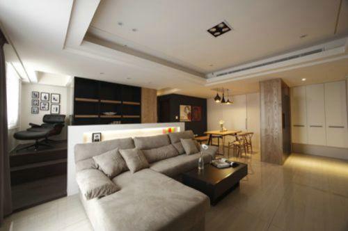 时尚黄色雅致现代风格客厅装潢装修