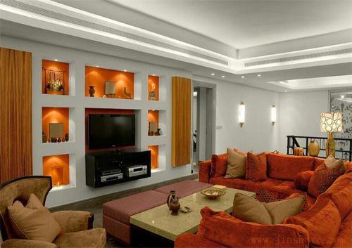个性橙色现代风格客厅装饰图