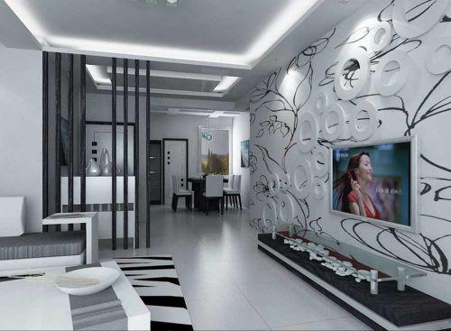 经典黑白时尚现代风格客厅装潢