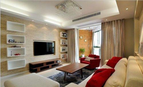 2016现代风格素雅米色客厅装潢案例