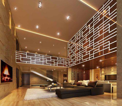 现代风格时尚闪亮客厅装饰效果图