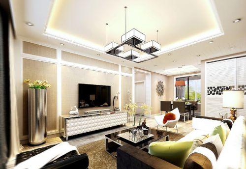 质感白色现代风格客厅装修图片