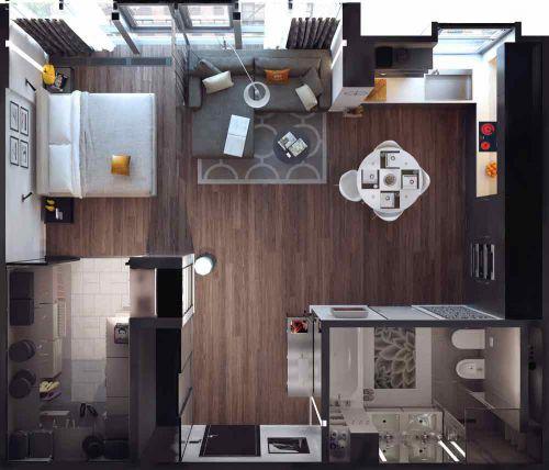 现代多功能客厅俯视图