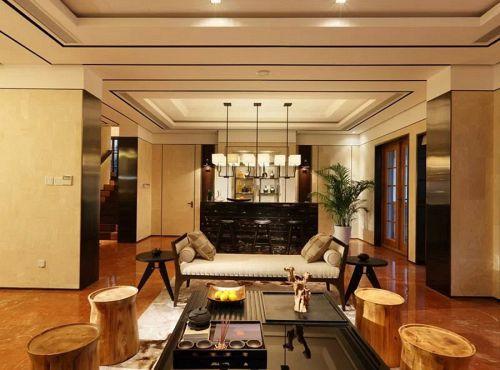 现代风格素雅米色客厅装修设计图
