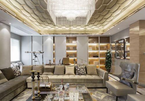 金色水晶欧式客厅吊顶设计