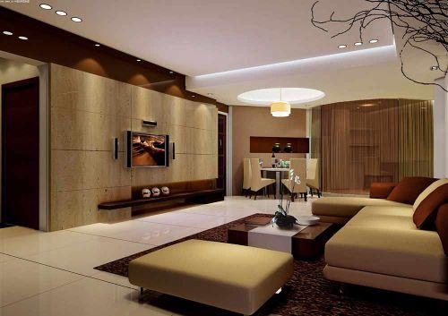 大地色系现代风格客厅布置案例欣赏