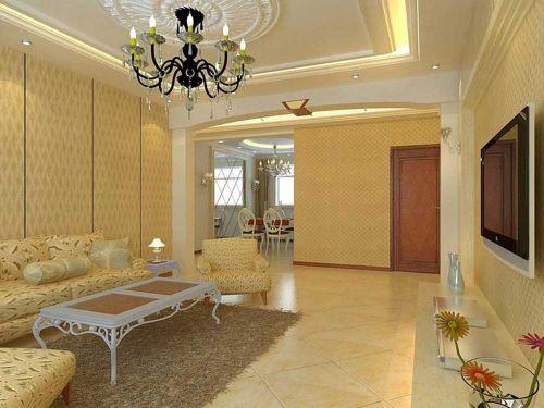 素雅米色现代风格客厅装修效果图