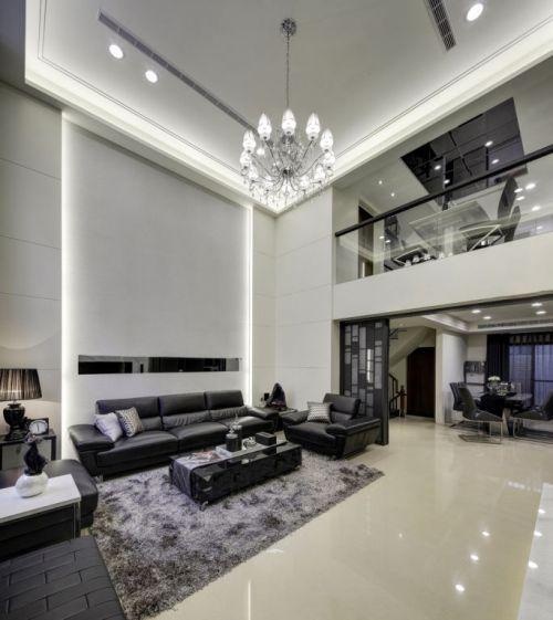 2016大气现代黑色客厅装潢效果图