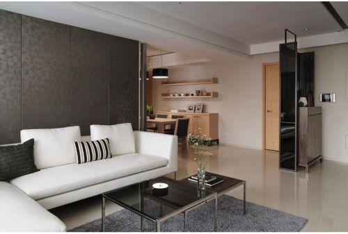 精致时尚白色现代风格客厅装潢图片
