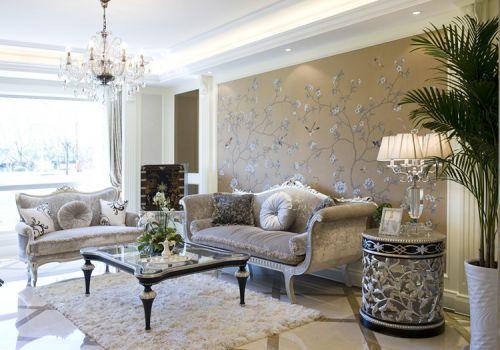 素雅欧式客厅背景墙设计