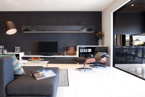 黑色前卫都市现代风格客厅装修图