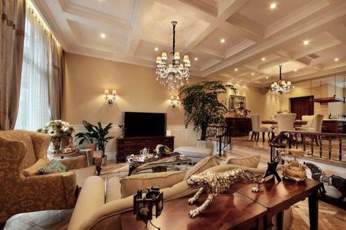 浪漫精致欧式风格橙色客厅美图