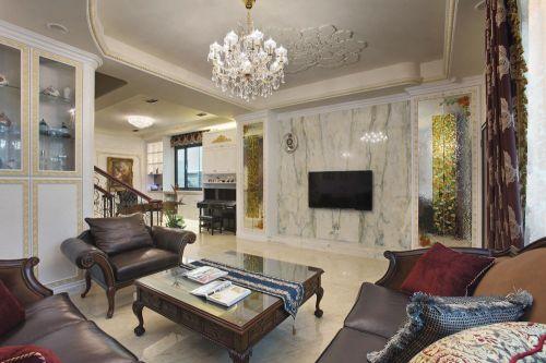 米色精致时尚欧式客厅装修效果图
