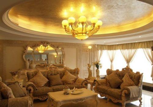 欧式风格温馨米色客厅效果图欣赏