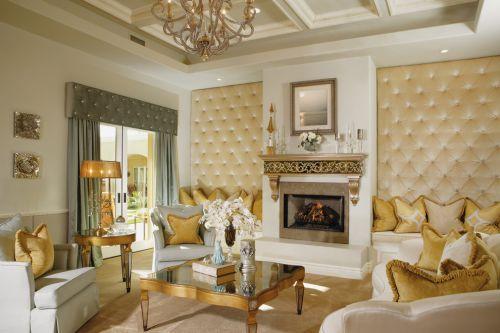 2016黄色轻奢欧式风格客厅装修案例