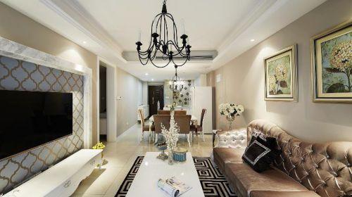 欧式风格褐色客厅装修设计