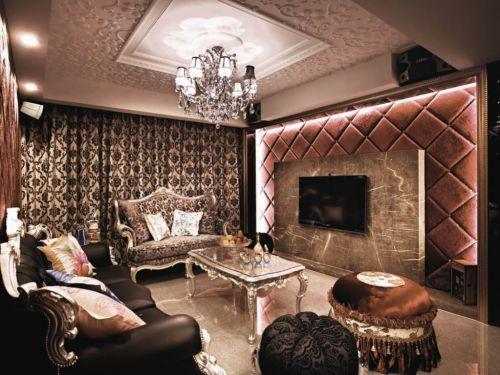 褐色欧式风格客厅装修设计图片