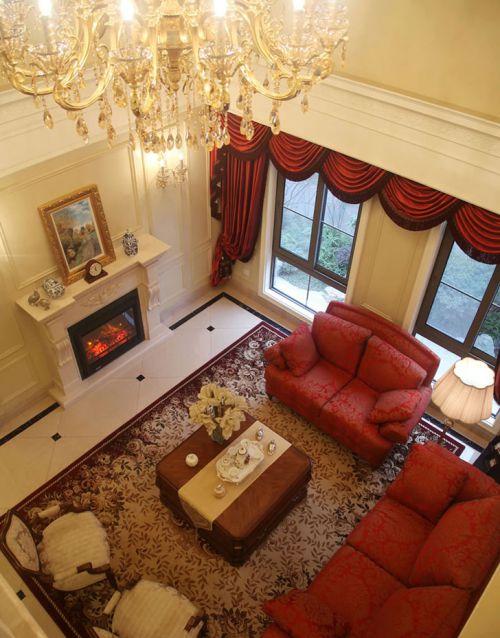 红色欧式风格客厅沙发装修效果图