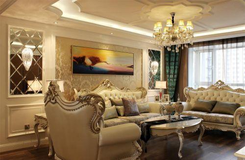 黄色欧式风格客厅装修设计图