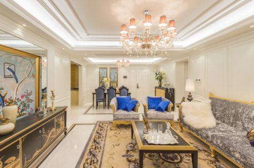 欧式浪漫风格米色客厅装修效果图